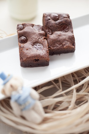 chewy: Chewy Fudgy chocolate chip Homemade Brownies