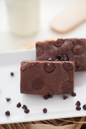 chewy: Chewy Fudge chocolate chip Homemade Brownies Stock Photo