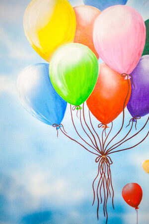 Flying colorful ballons on the wall photo