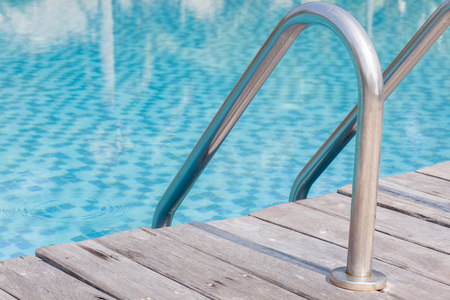 durable: Durable swimming pool ladders steel Stock Photo