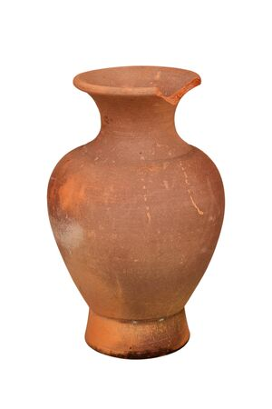 Thai Earthenware, ancient jar isolated from white background