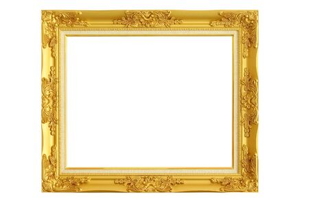 gold picture frame: gold picture frame on white background. Stock Photo