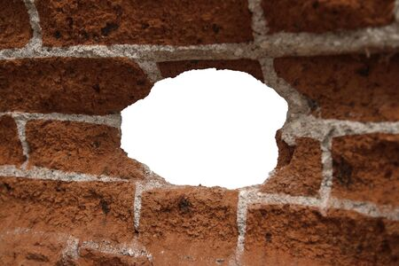 white hole: white hole in old wall, brick frame