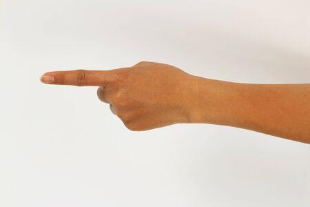 dedo indice: Al tocar el dedo índice hacia adelante aisladas sobre fondo blanco.