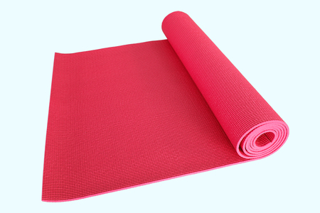 solated on white: red yoga mat solated on white