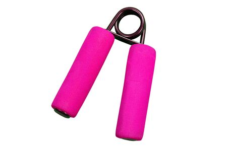 herramienta de ejercicio del antebrazo rosa aisladas en blanco