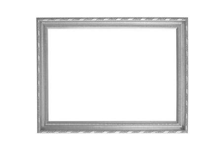 silver frame: silver picture frame isolated on white background.