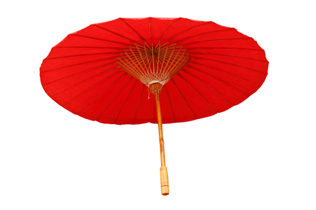 mulberry paper: Beautiful red umbrella isolated on white background.