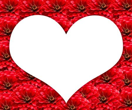 White Heart Frame on Red Flowers background photo