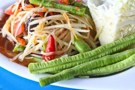 The papaya salad with beans photo