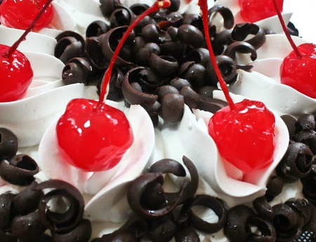 Black Forest Cake with cherries photo