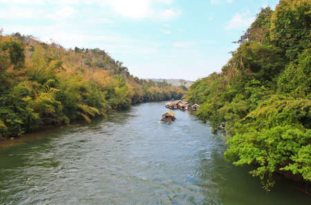 downstream: Float raft downstream in Kwai River