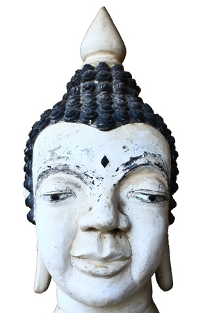 White thai buddha statue of head photo