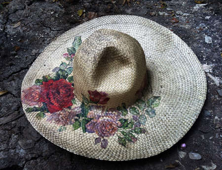 Vintage hat on the floor Stock Photo