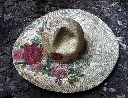 grunge: Vintage hat on the floor Stock Photo