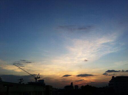sunrises: Sunset in the city Stock Photo