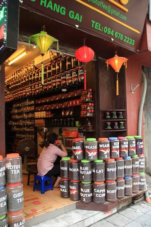 according: HANOI, VIETNAM, SEPTEMBER 18, 2015 : Coffee beans shop in Old quater