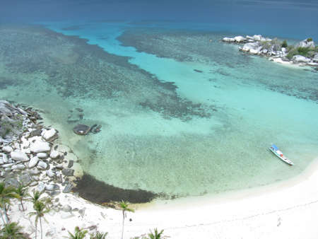 The clear sea with white sand beach on the top view
