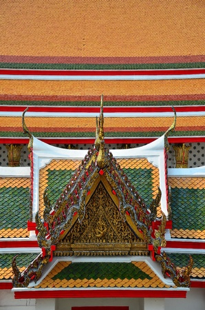 Close up of Thai traditional style gable and roof in Thai ancient temple