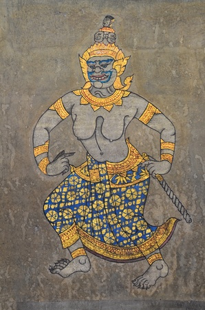 Thai ancient painting of giantess on wall