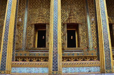 dazzlingly: Dazzling exterior decoration of Thia andcent temple  Stock Photo
