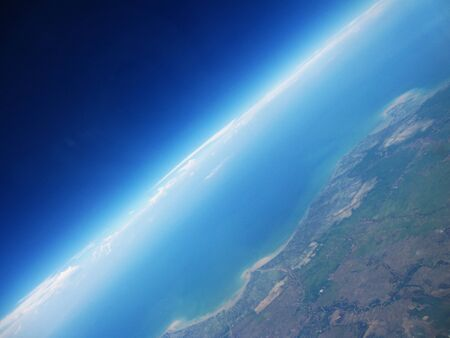 Photo of skyline with blue sky on the sea