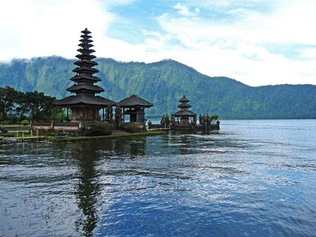 bratan: Landscape of Pura Ulun Danu Bratan Temple  Ancient baliness traditional temple in Bali, Indonesia  Stock Photo