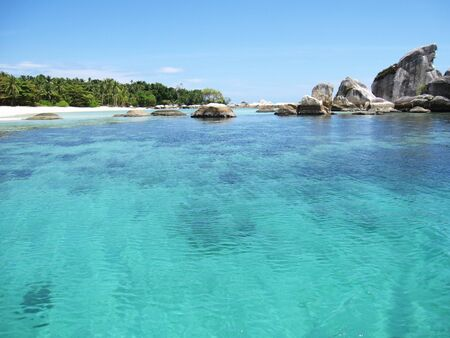 Landscape of a very clear blue sea with beautiful nature
