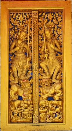 Photo of the perfect Thai ancient carving wood  Stock Photo