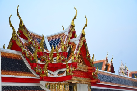 Close up of Thai traditional gable roof in Thai temple