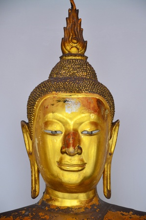 Close up of Thai antique buddha image in the old temple