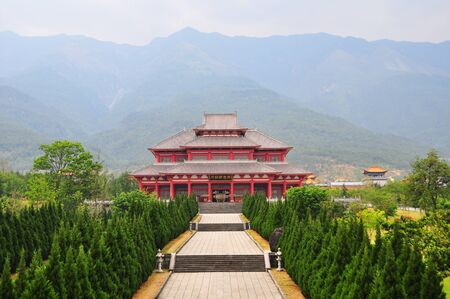 Landscape of Chinese famous old temple with Chinese decoration style