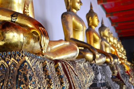 Close up at hand of buddha image in Thai temple  Stock Photo