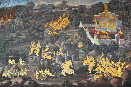 Painting of Buddhism traditional religious story on the ancient wall