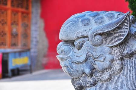 Close up of Kylin  The sculpture stone of holy Chinese animal  Stock Photo