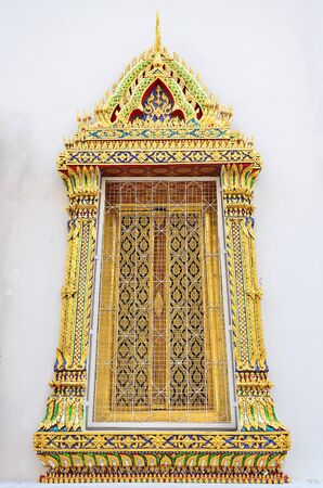 architrave: Close up of Thai beautiful ancient architrave in Thai temple  Stock Photo