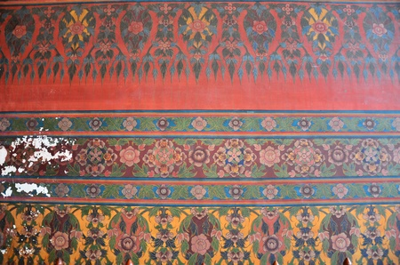 dazzlingly: Close up of old mural in ancient temple in Bangkok, Thailand