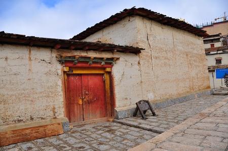Photo of traditional door in Tibetan town