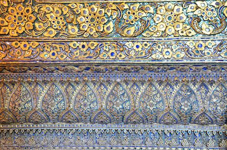 A very close up with detail of beautiful Thai carving  Stock Photo