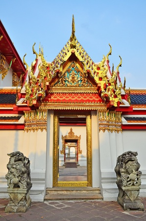 The beautiful Thai traditional door in Thai ancient temple  Stock Photo