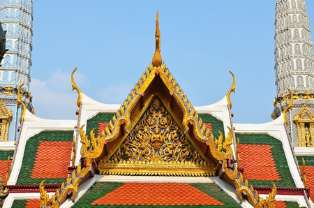 Close up of The traditional glorious gable in Thai ancient temble