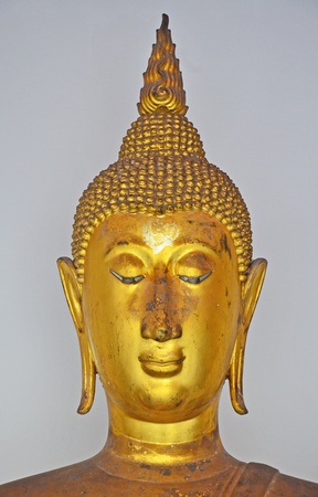Close up of ancient buddha image with peaceful feeling  Stock Photo