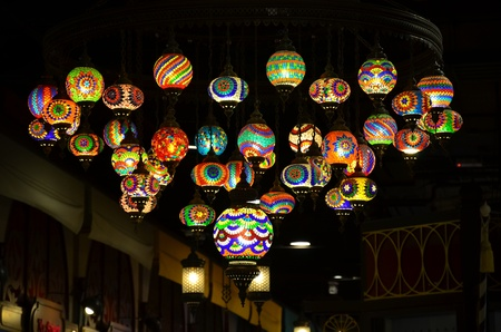 Colorful Turkish lamps decorated on the ceiling