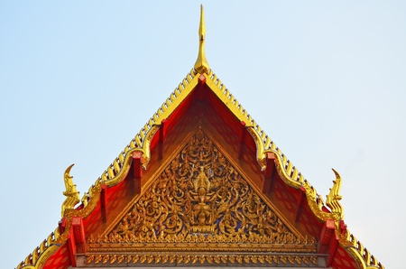 Close up of Thai ancient gable with fantastic carving  Stock Photo