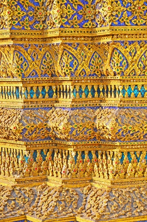 Close up of Thai traditional exterior decoration with fantastic details