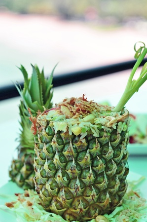 Thai style fried rice in the pineapple with nice decoration  Stock Photo