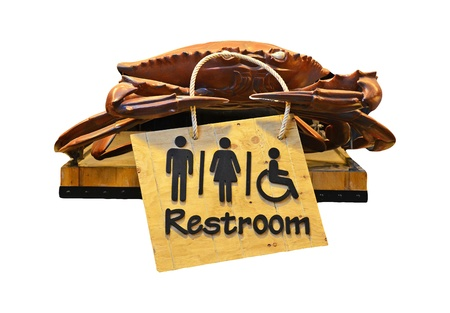 The sign of restroom crab design isolated on white background