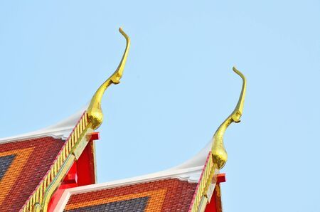 Close up of Thai traditional style gable end on the roof