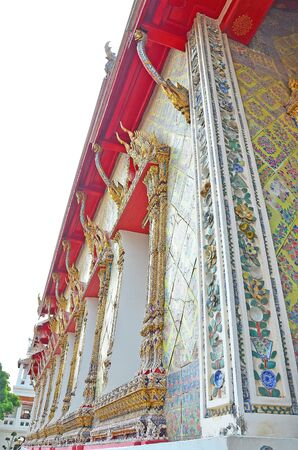 The detaile of Thai ancient traditional temple decoration