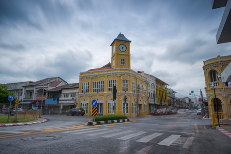 renovated: The old clock tower in Phuket, Thailand.